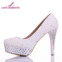 New Bridal Shoes White Gorgeous Vogue Crystals and Pearl High Heels Wedding Dress Shoes Princess Women Party Prom Pumps Handmade