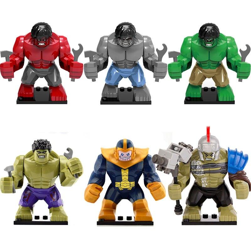卸売 20 ピース/ロットグレーレッドハルク Thanos さんスーパーヒーロー子供のビルディングブロックレンガギフトのおもちゃ XH160 XH161 XH654  グループ上の おもちゃ & ホビー からの ブロック の中 1