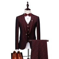 2018 Men Suit Men Single Breasted Wine Red Tuxedo Grooms Stylish Floral Print Wedding Suits for Men Designers with Pants 3 Pcs
