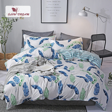 SlowDream Nordic Bedding Set Leaf Printing Decorative Duvet Cover Bedspread Flat Sheet Bed Linen Double Queen Bedclothes