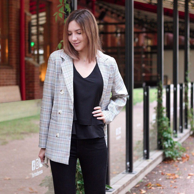 Casual Plaid Women Blazer Jacket Notched Collar Double Breasted Female Suit Coat Fashion Outerwear blaser femme Jacket 11