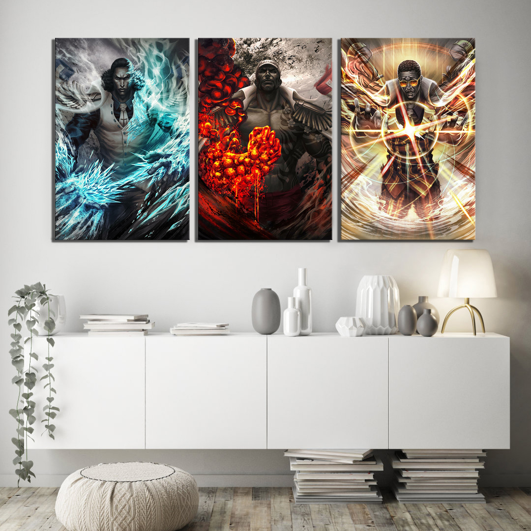 With Frame 3 Piece HD Picture Navy Headquarters Senior General ONE PIECE Anime Poster Canvas Painting for Home Decor Wall Art 2