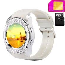 V8 Inteligente Reloj Soporte Sim Ranura Para Tarjeta DEL TF Bluetooth Deporte Reloj con 0.3 M Cámara MTK6261D Smartwatch para Android teléfono