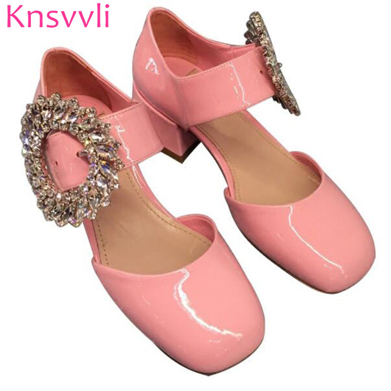 Rhinestone Big Round Buckle Low Heel Ladies Shoes Patent Leather Candy Color Square Toe One Word Buckle High Heel Woman pumps цена 2017