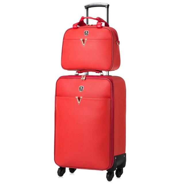 0c0b3fac78e8b جلد أحمر مربع صورة مربع عجلة عالمية الأمتعة عربة الأمتعة حقيبة سفر حقيبة  الإناث ، العروس