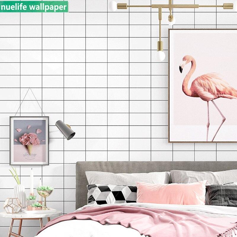 Style nordique noir et blanc plaid motif géométrique papier peint chambre salon étude boutique TV fond décoration papier peint