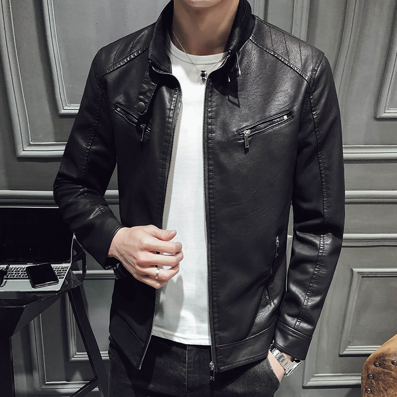 2019 Spring And Summer Simulation Leather Jacket Hot New Nightclub Street Fashion Casual Solid Color Slim Men's Jacket