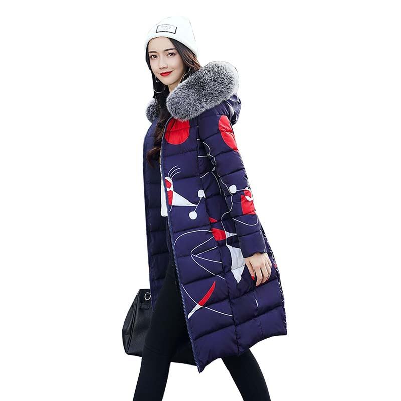 Fashion Winter Cotton Padded Jacket Women Slim Thick Stars Print Female Coat Parka Warm Winter Long Jackets Ladies Overcoat 4L26 casual women s slippers with rouse and platform design