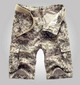 Outdoor summer men camouflage loose large size multi-pocket breeches Military Camo Tactical overalls Cotton Short pants