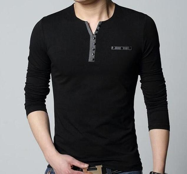 517dfcf9 2016 Fashion Mens Slim Fit Long Sleeve T Shirts Stylish Luxury Men V ...