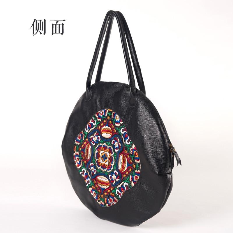 HANSOMFY женские сумки из натуральной кожи 2018 новые оригинальные вышитые первый слой кожаные женские сумки через плечо портативные круглые сум... - 4