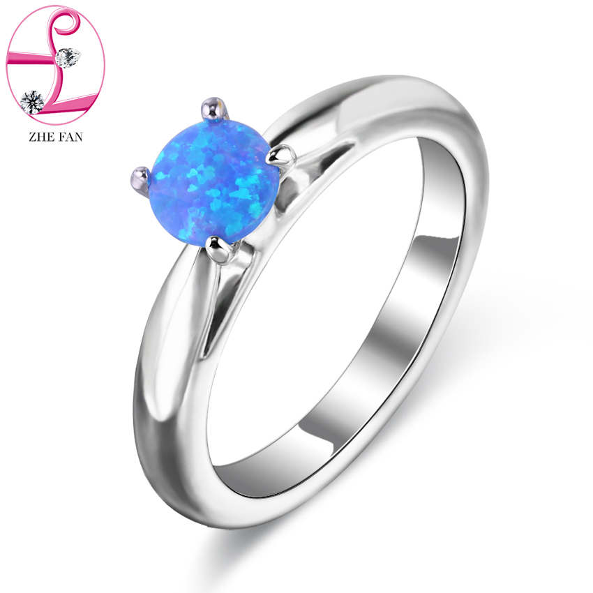 Simple Ring Round White Pink Blue Created Fire Opal Rings for Women Trendy Engagement Wedding Band Jewelry Size 6 7 8 9