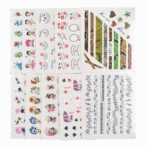 Image 3 - 50 arkuszy mieszane style Watermark BOW Cartoon naklejki Nail Art porady transferu wody naklejki uroda tymczasowe tatuaże narzędzia