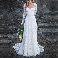 Robe de mariee boheme Long Sleeve Lace Wedding Dress 2019 Beach V Neck Bridal Wedding Gown with Open Back vestido novia playa