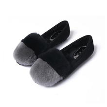 2018 New Autumn Winter Womens Shoes Flat Flock Rabbit Hair Casual Loafers Mixed Colors Shallow Fashion Elegant Plus Size