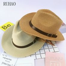 RUHAO Parent-child beach hats Men Panama Straw Hat Summer Beach Western Cowgirl sun men visors Cap