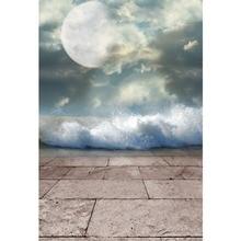 Laeacco Vinyl Backdrops Moon Cloudy Sky Hazy Square Floor Baby Portrait Scenic Photography Background Photocall Photo Studio