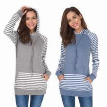 Spring and autumn new European American womens stitching style striped  hooded jacket