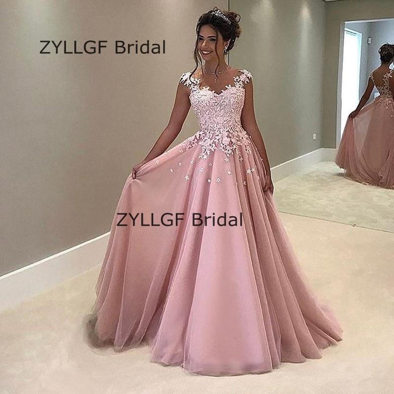ZYLLGF Nupcial Una Línea de vestidos Formales de Noche de Las ...