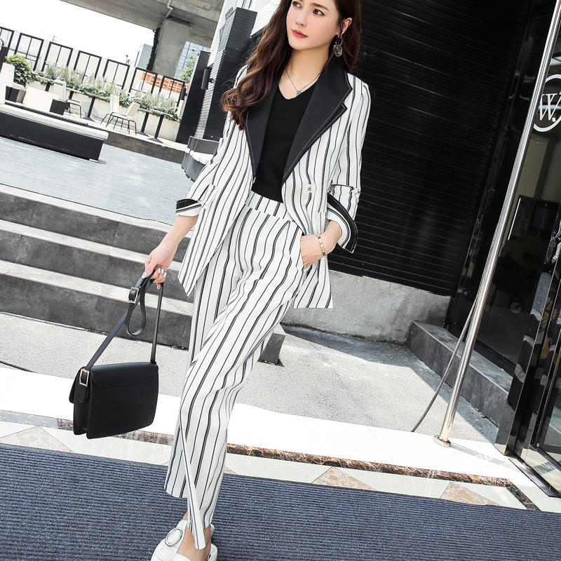 Bandage Striped Pant Suit for Women Turn down Collar Blazer Jacket Elastic Waisted Pants Casual Female