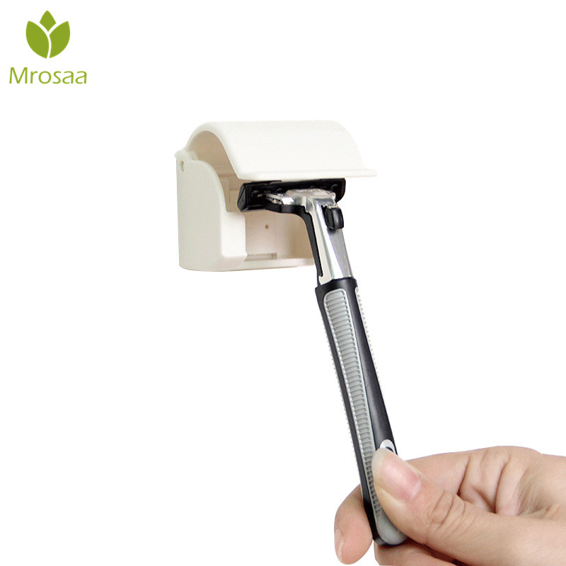1 Pcs Mini Shaver Holder Sticker Razor Holder Compact Space-saving Shaver Hanging Storage Rack With Dust Cover Cap For Bathroom