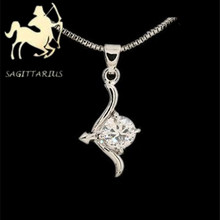 Twelve constellations inlay zircon Sagittarius necklace with free shipping