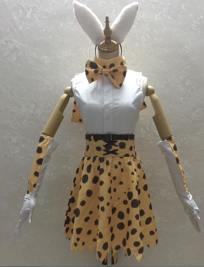 2019 Anime Kemono amis projet Leptailurus Serval Zoo Animal à pois Cosplay Costume uniforme Halloween tenue