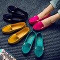 Plus tamaño de Primavera Otoño Las Mujeres de Los Holgazanes Planos Del Color Del Caramelo Zapatos Del Barco lindo Slip on Zapatos Planos Planos Del Ballet de Los Zapatos del holgazán del Ante Del Coche