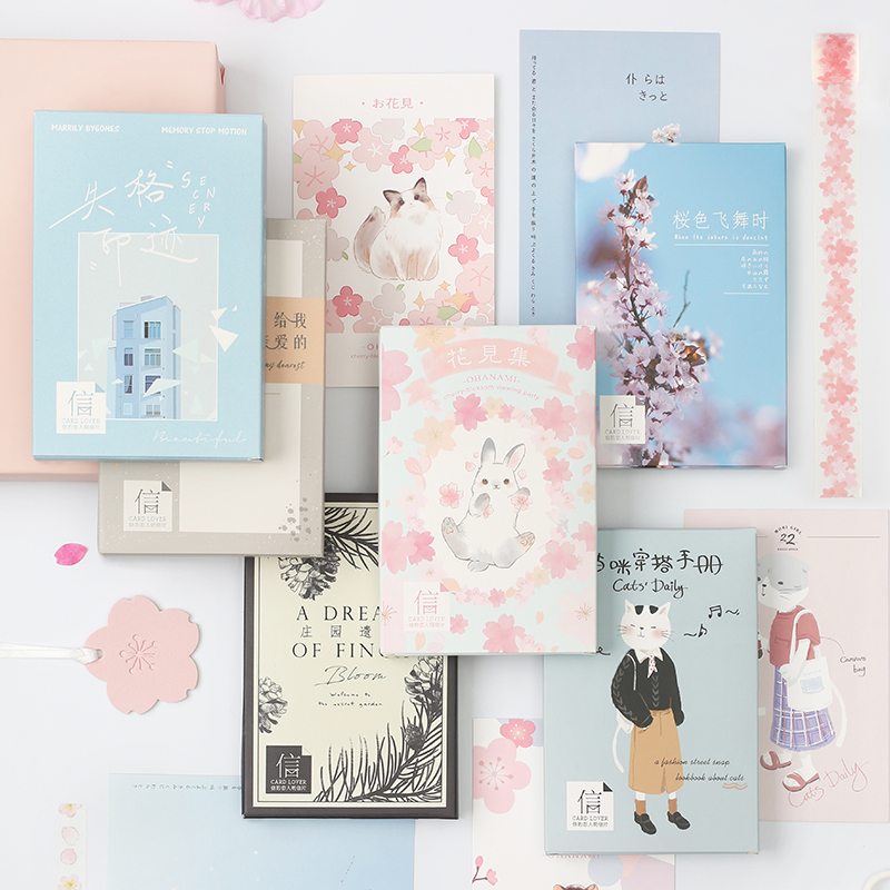 30 Sheets/Set Cute Cherry Blossom Cat Series Paper Postcard Greeting Card Birthday Bussiness Gift Card Message Card