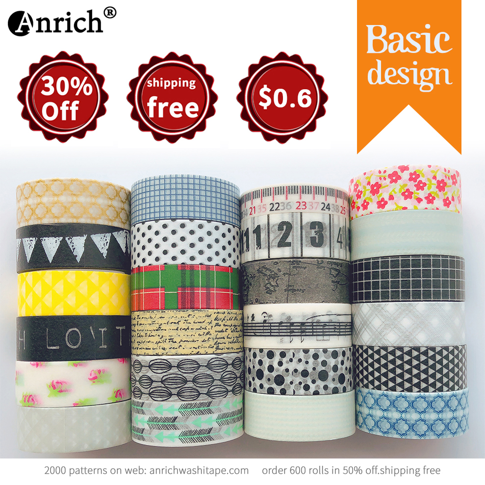 Free Shipping and Coupon washi tape,Washi tape,basic design,Optional collocation,on sale,#6682-6719,size15mm*5m