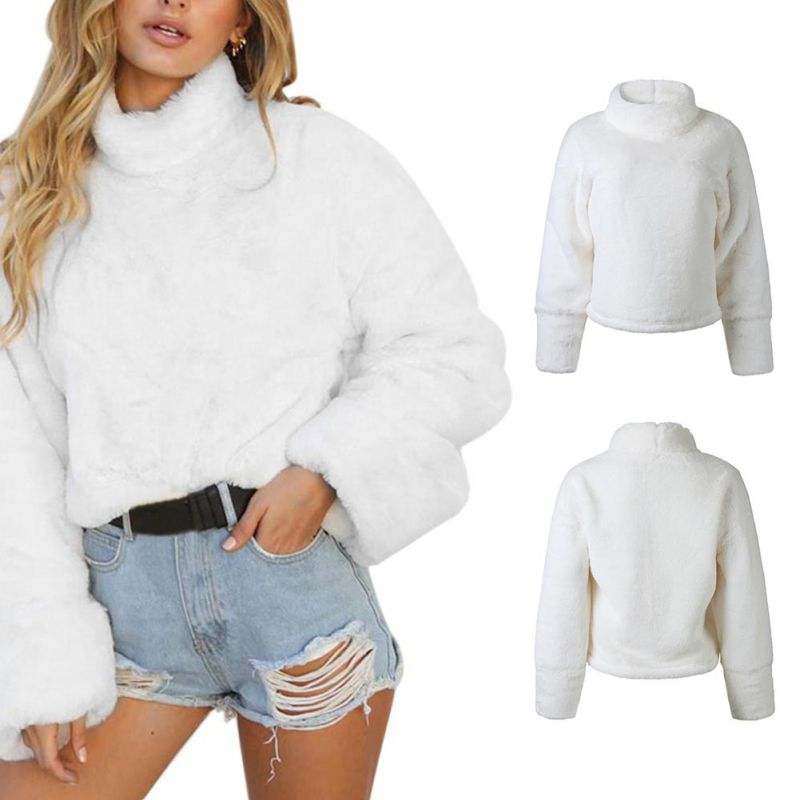 86c58765bf5472 Women White Fur Turtleneck Sweater Long Sleeve Christmas Sweaters ...