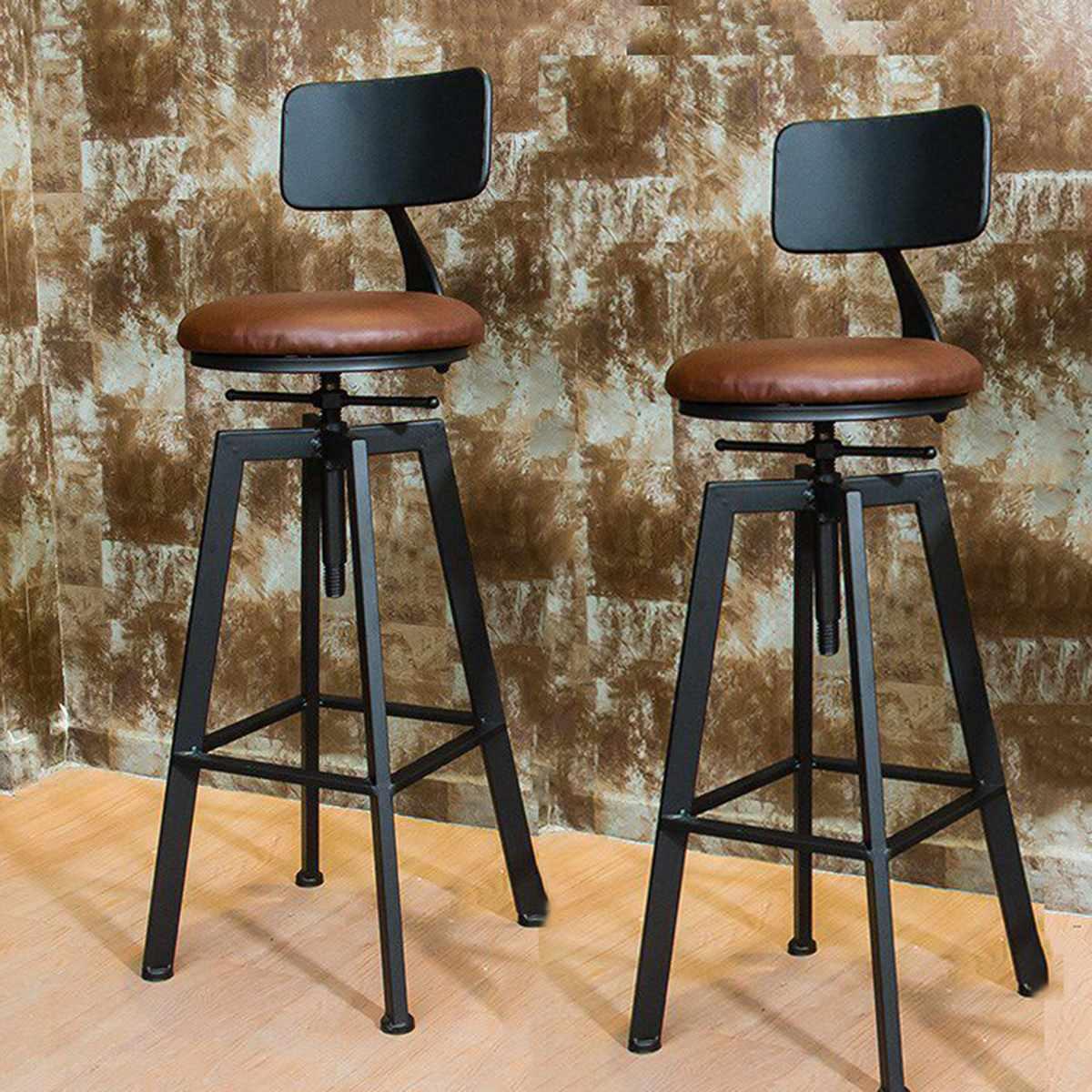 Adjustable VINTAGE RETRO LOOK RUSTIC KITCHEN BAR STOOL CAFE ...