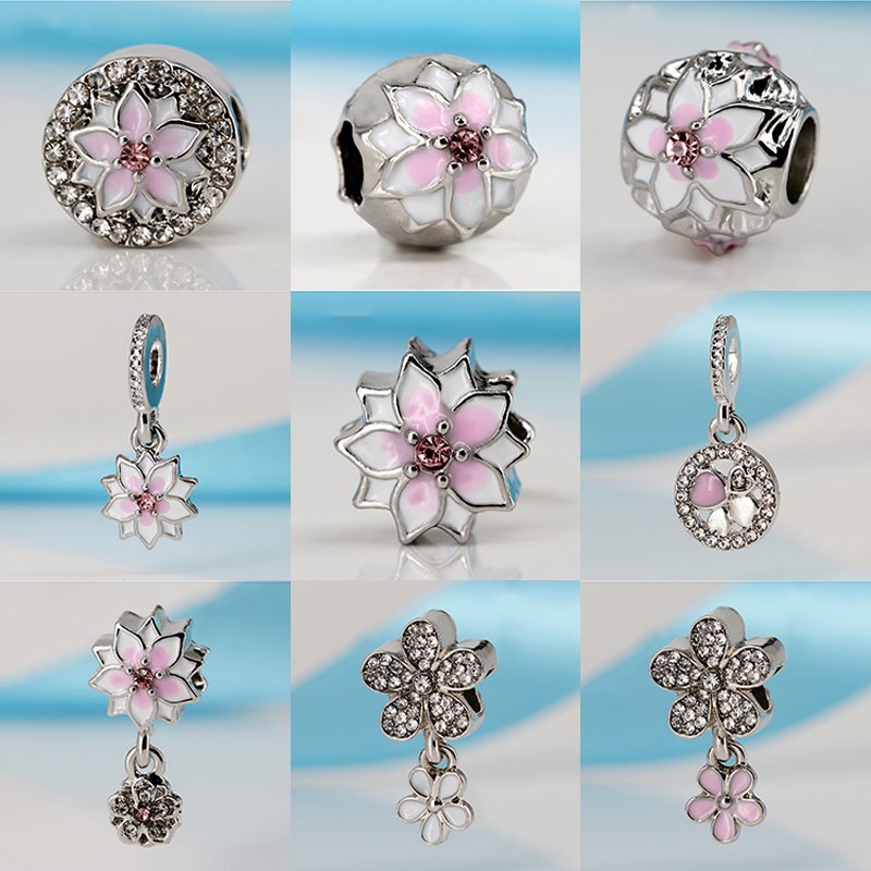 2017 Women Silver Plated All Kinds Of Beautiful Fowers Pendant DIY Bead Charms Fit Pandora Bracelets & Bangles Necklace Jewelry