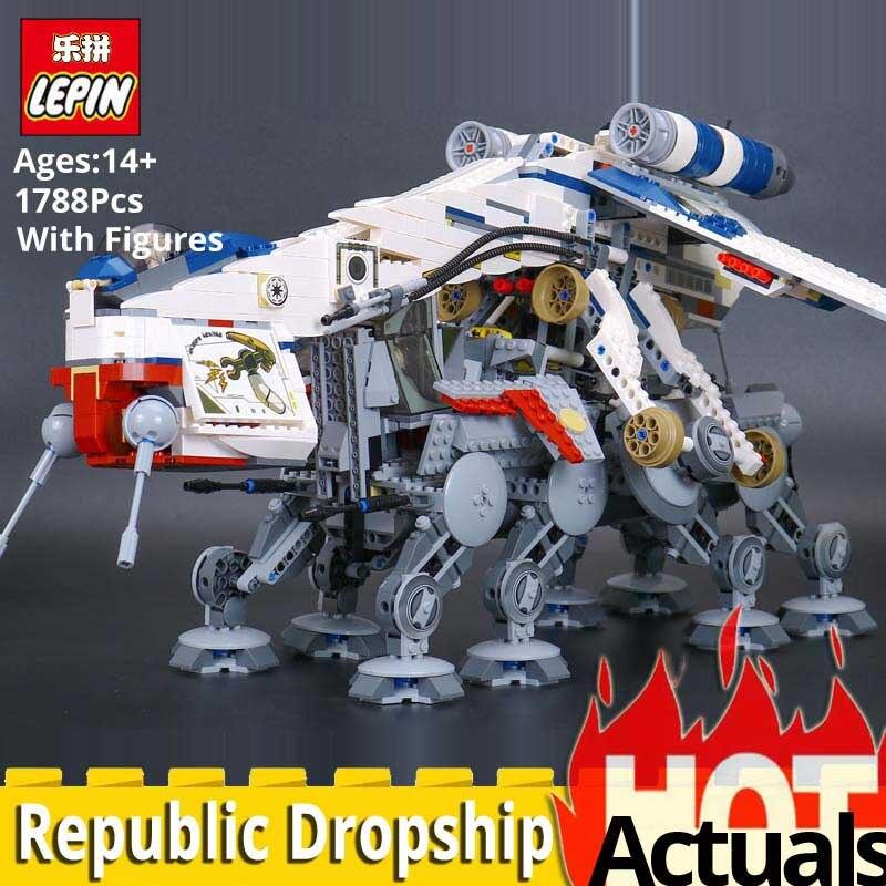 Lepin Звездные войны 05053 Республика челнока Модель Набор строительных блоков кирпичи развивающие игрушки legoings star wars 10195 горячие игрушки