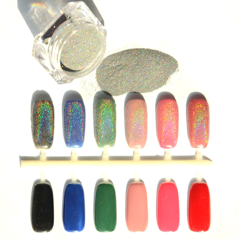Extra Fine Holographic Chrome Nail Art Powder: 1.5g 1 Box Rainbow Holographic Glitter Silver Nail Powder