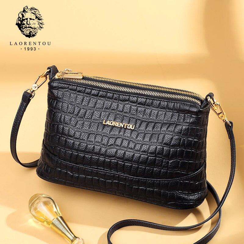 LAORENTOU Cowhide Leather Female Shoulder Bag Fashion Purse Lady Skin Tote Bag Women Large Capacity Crossbody