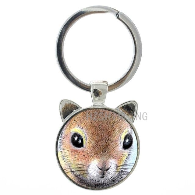 2016 Nova arte animal Esquilo Bonito chaveiro banhado a prata/cabochon vidro bronze Esquilo ear anel chave da cadeia de jóias homens CN248