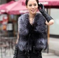 S XXXLSilver Black faux Fur Vest Fox V neck sleeveless gilet outwear women waistcoat design fur coat colete de pele feminino J24