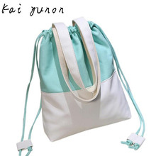 kai yunon Women Fashion Hit Color Canvas Drawstring Bags Shoulder Bag Casual Handbag Sep 21