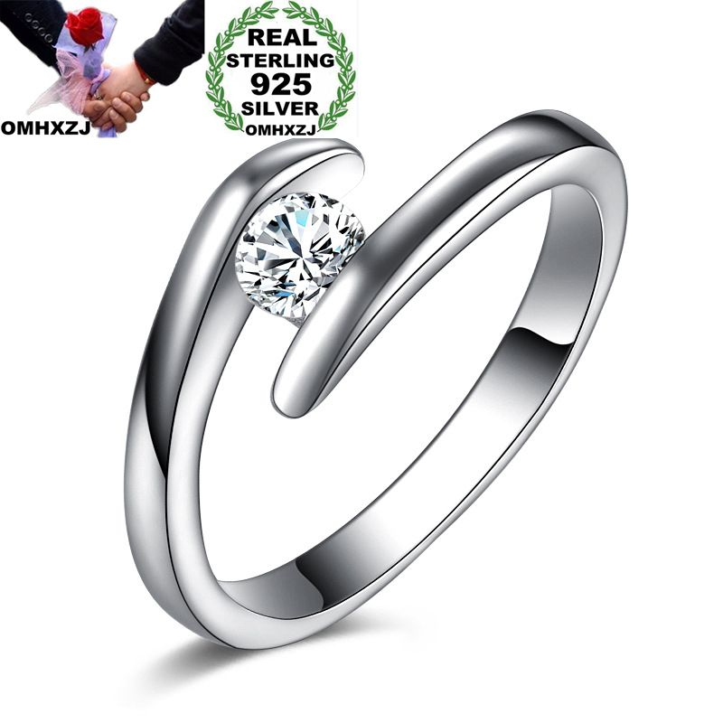 OMHXZJ Wholesale Personality Fashion OL Woman Girl Party Wedding Gift White Simple AAA Zircon S925 Sterling Silver Ring RN201