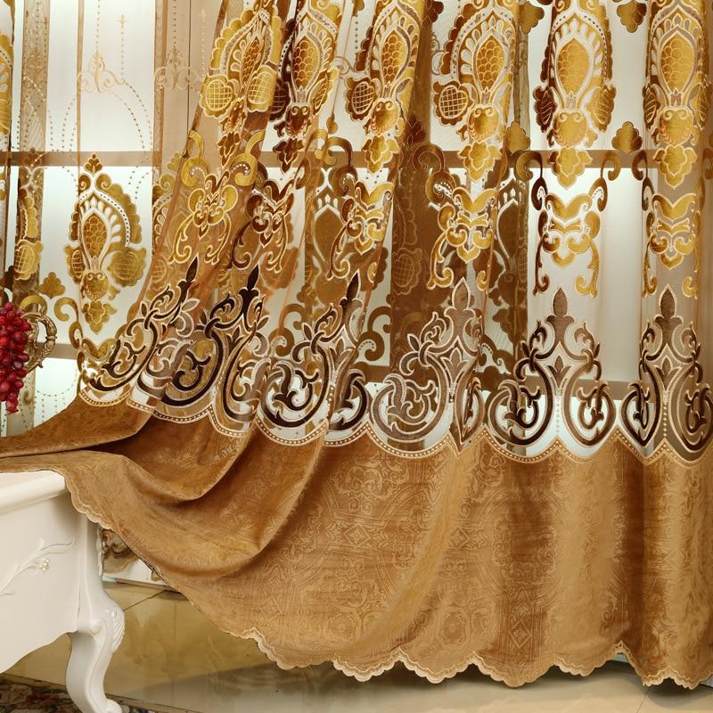 Avrupa yüksek dereceli Işlemeli perdelik kumaşlar lüks Polyester - Ev Tekstili - Fotoğraf 6