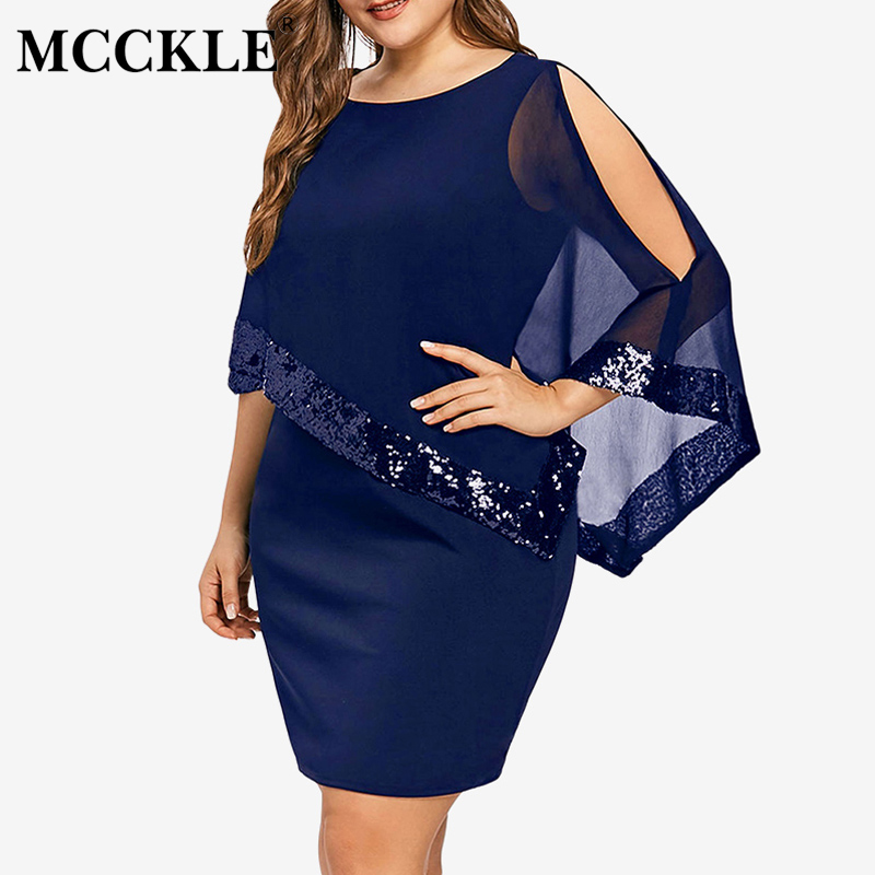 Women's Sequined O-Neck Mini Dress Ruffled Plus Size 5XL Bodycon Half Sleeve Womens Dresses 2019 Spring Summer Party Vestidos