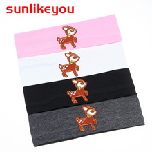 Sunlikeyou Newborn Photography Props Children Boys Girls Elastic Cotton Hair Bands Turban Cartoon Deer Embroidery Baby Headband