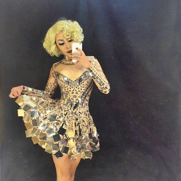 Блестящее Серебряное платье с зеркалом, женское певица, танцовщица, яркий костюм, цельное платье для ночного клуба, вечерние платья, DJ