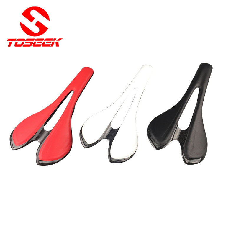 2016 new full carbon fiber+Leather bicycle saddle road mountain bike saddle seat cushion bike parts black, red , white цена