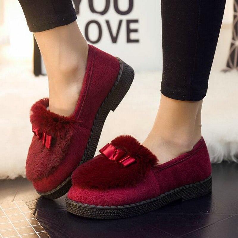 Los Mantener Señoras Mocasines La Nuevo Flock gray 2019 Casuales Planos 22 Black De Invierno Las Mujeres Caliente Piel Cuero rosado Zapatos red Lg Con z6Iq77