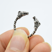 1pcs Antique Silver Viking Ring For Men Adjustable Dragon Rings Norse Vikings Mythology Jewelry RG12
