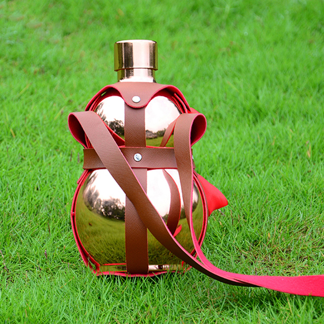 Stainless Steel Hip Flask alcohol Hip Flask Big Gourd Red Leather Holster Large Capacity Stainless Steel Hip Flask