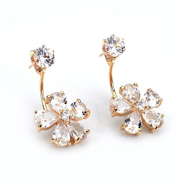 Attractive Lovely Gold Crystal Clover Flower Ear Jacket Double sided Swing  SP58