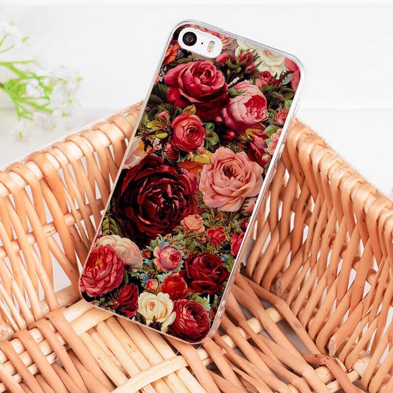 Yinuoda для iphone 7 6 X Чехол красная бабочка на белых розах цветок чехол для телефона для iphone 8 7 6 6S Plus 5S SE 5C 4S XR XS MAX